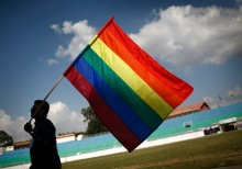 A man participates in the opening ceremony of the first South Asia LGBT Sports Festival in Kathmandu