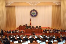 Members of Kyrgyzstan's parliament attend first session in Bishkek