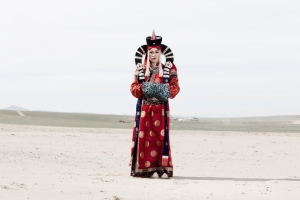 Nyamka wears a traditional mongolian queen costume.